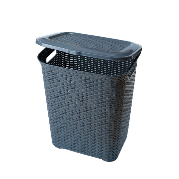 LAUNDRY BASKET HG WEAVE W/COVER